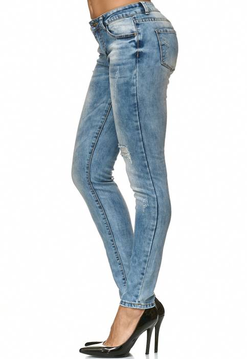 Damen Jeans Hose Skinny Stretch Röhre Destroyed Risse D2243 – Bild 3