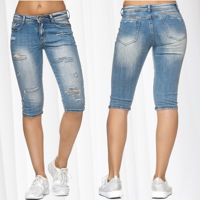 Damen Hotpants Jeans Shorts Ripped Bermuda Hose Destroyed Risse Löcher Used