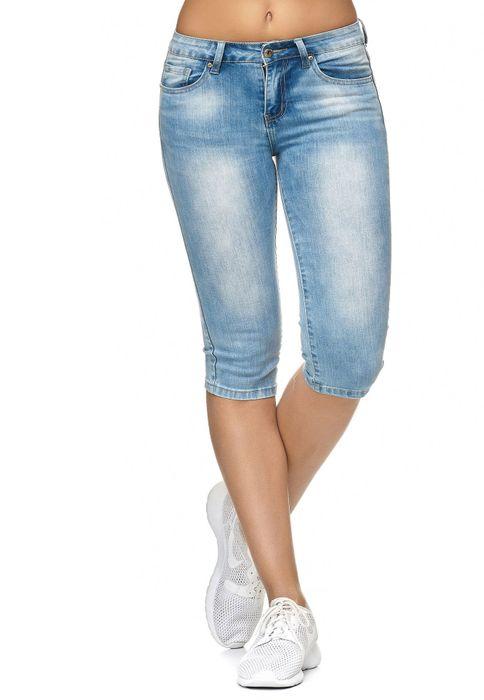 Damen Shorts Capri 3/4 Skinny Stretch Hose D2247 – Bild 2