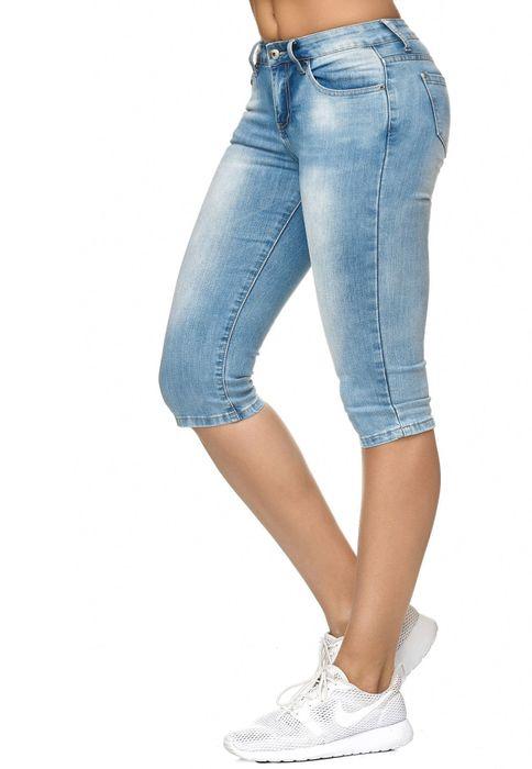 Damen Shorts Capri 3/4 Skinny Stretch Hose D2247 – Bild 3