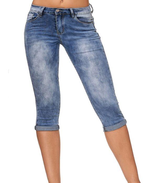 Damen Shorts Capri 3/4 Skinny Stretch Hose D2247 – Bild 7