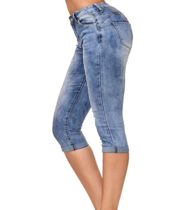 Damen Shorts Capri 3/4 Skinny Stretch Hose D2247 – Bild 9