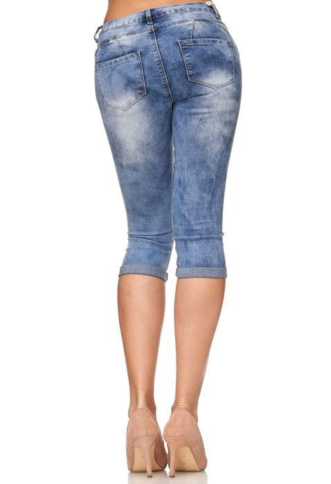 Damen Shorts Capri 3/4 Skinny Stretch Hose D2247 – Bild 11