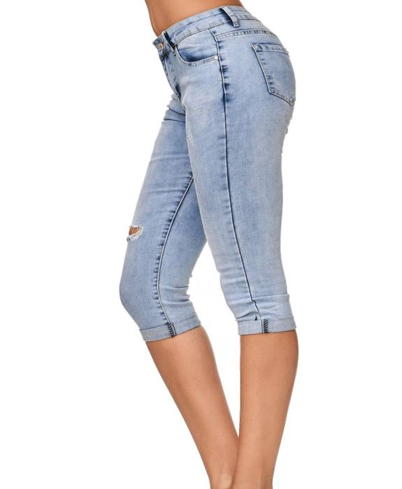 Damen Shorts Capri 3/4 Skinny Stretch Hose D2247 – Bild 14