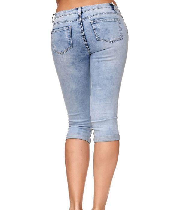 Damen Shorts Capri 3/4 Skinny Stretch Hose D2247 – Bild 16