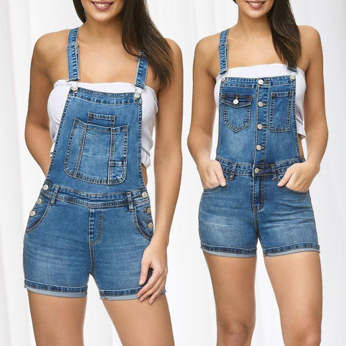 Damen Latz Shorts Latz Shorts Kurze Latzhose Hot Pants Skinny D2250 – Bild 1