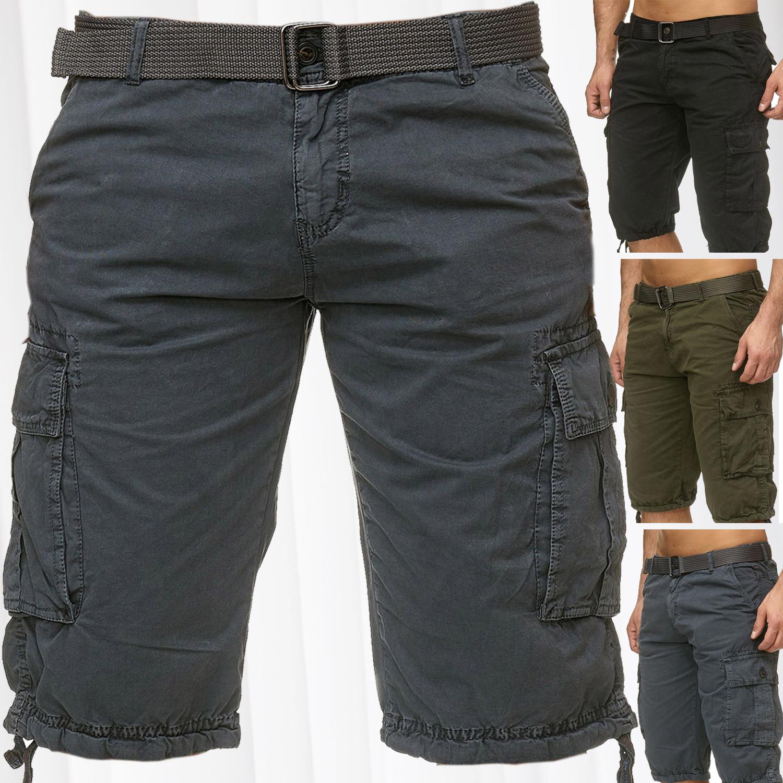 herren bermuda cargo shorts inklusive g rtel baumwolle kurze chino outdoor hose ebay. Black Bedroom Furniture Sets. Home Design Ideas