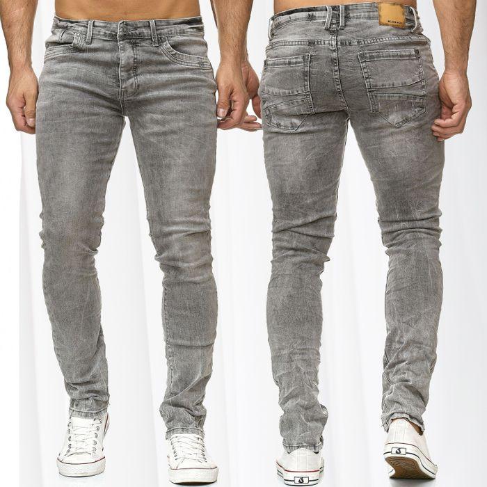 Herren Jeans Hose Slim Fit Vintage Washed Skinny H2253 – Bild 1