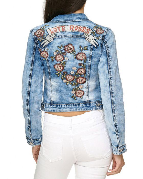 Damen Jeans Jacke Blumen Stickerei Long Sleeve Floral Rosen D2256 – Bild 5
