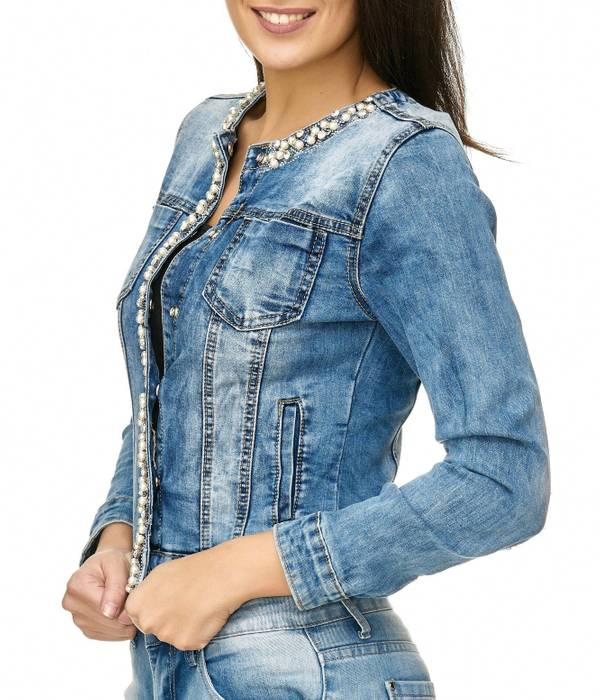 Damen Jeans Jacke Perlen Strass Glitzer Steine Kurze Übergangsjacke D2259 – Bild 3