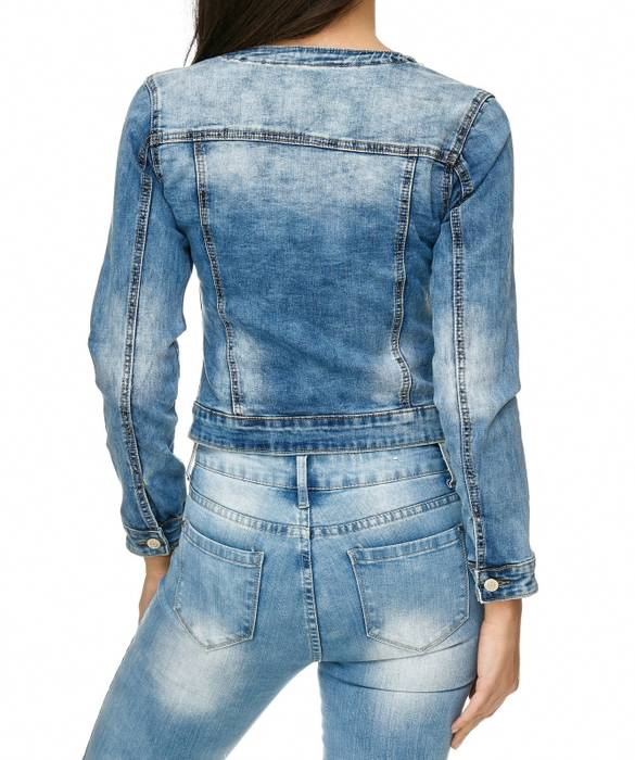 Damen Jeans Jacke Perlen Strass Glitzer Steine Kurze Übergangsjacke D2259 – Bild 6