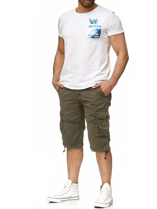 Herren Cargo Shorts Kurze Bermuda Hose 100% Baumwolle inklusive Gürtel H2260 – Bild 11