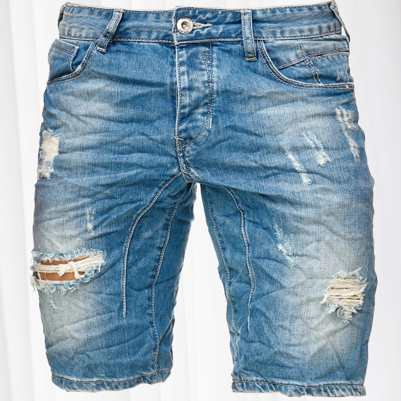 Herren Jeans Shorts Neon Naht Bermuda Stretch Kurz Denim Style Pants Hose Sommer