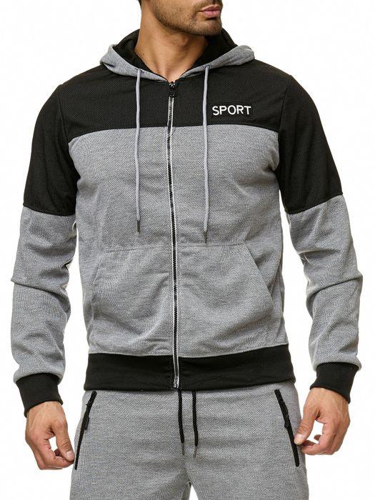 Max Men Herren Zip Hoodie Kapuzenjacke Sweat Shirt Pullover Jacke H2289 – Bild 2