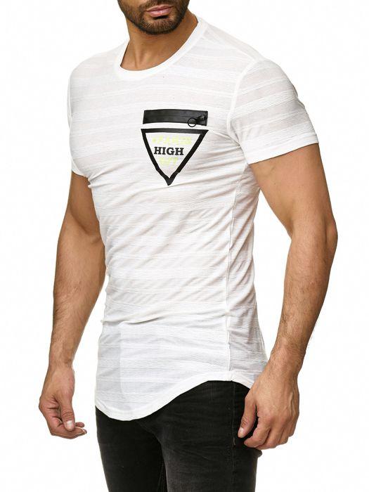 Max Men Herren T Shirt Longshirt Gestreift Motiv Short Sleeve H2292 – Bild 3