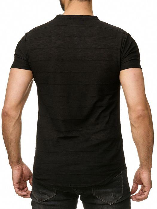 Max Men Herren T Shirt Meliert Zipper Short Sleeved Longshirt Anhänger H2293 – Bild 11