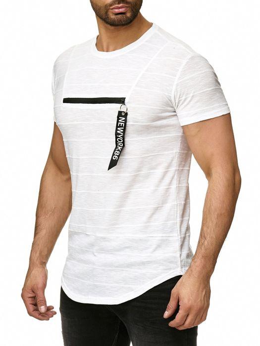 Max Men Herren T Shirt Meliert Zipper Short Sleeved Longshirt Anhänger H2293 – Bild 6