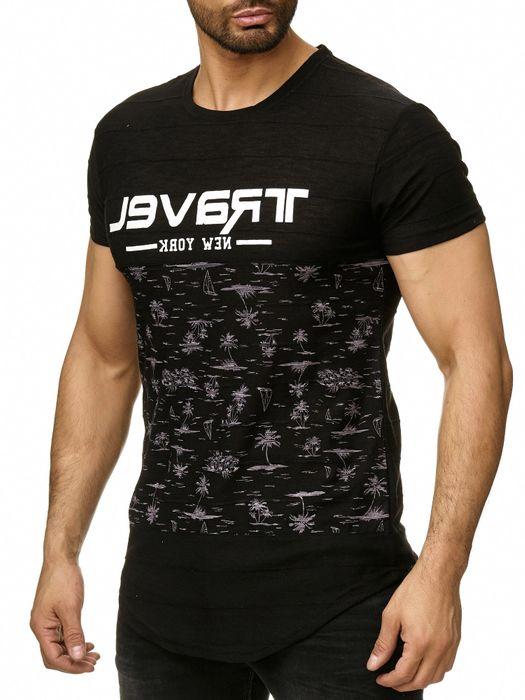 Max Men Herren T Shirt Palmen Print Short Sleeved Longshirt H2294 – Bild 3