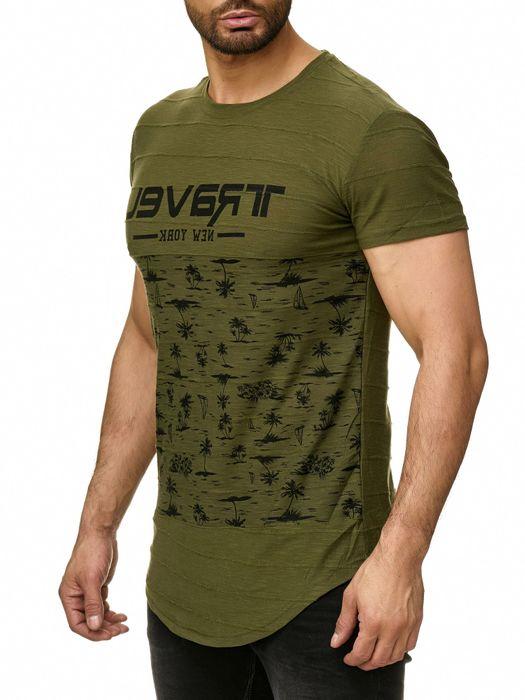 Max Men Herren T Shirt Palmen Print Short Sleeved Longshirt H2294 – Bild 9