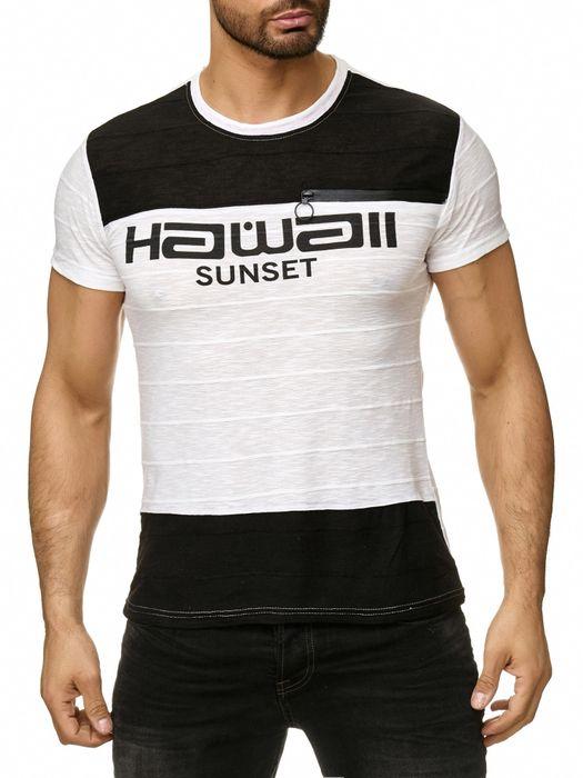 Max Men Herren T Shirt Short Sleeve Zipper Kurzarm O-Neck H2295 – Bild 2