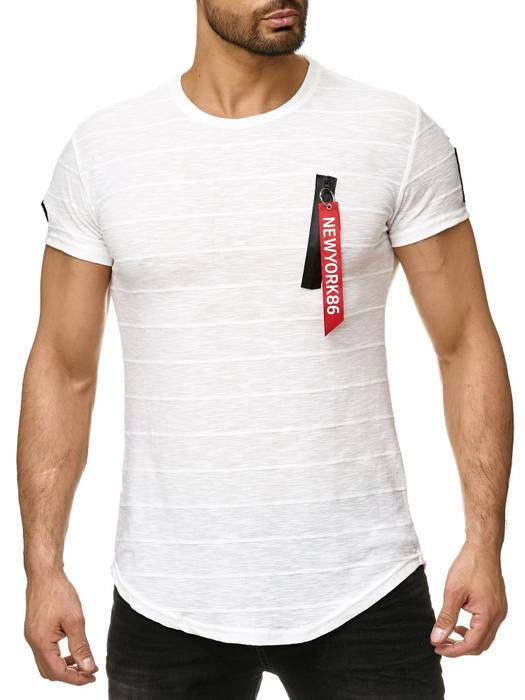 Max Men Herren T Shirt Patches Zipper Short Sleeved Longshirt H2296 – Bild 7