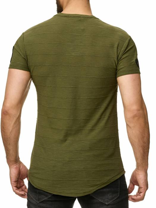 Max Men Herren T Shirt Patches Zipper Short Sleeved Longshirt H2296 – Bild 4