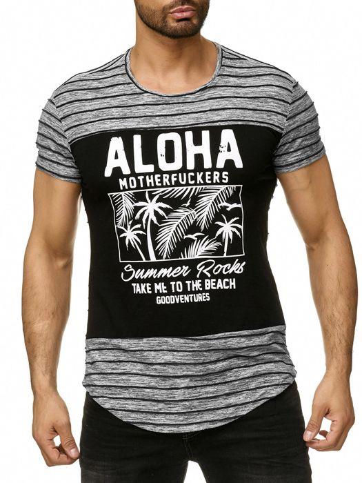 Max Men Herren T Shirt Gestreift All Over Print Palmen Short Sleeved H2299 – Bild 2