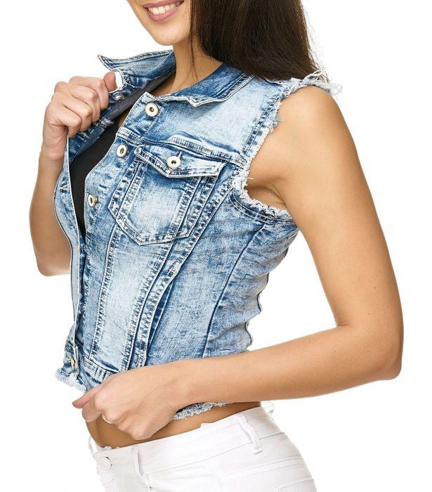 MYCHRISTY Damen Jeans Weste Ausgefranst Ärmellos Kurze Biker Jacke D2332 – Bild 3