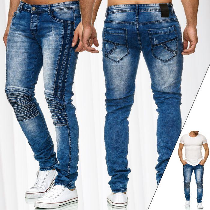 Jaylvis Herren Jeans Hose Biker Slim Fit H2333 – Bild 1