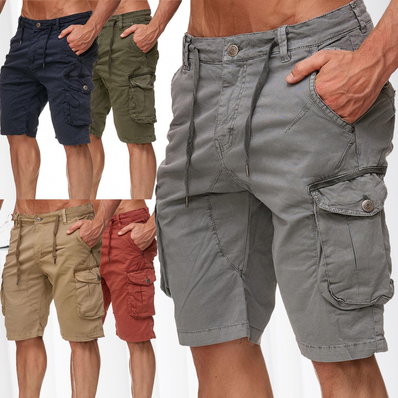 d3ad0ea8071f Herren Chino Bermuda Cargo Shorts Stretch Jeans Kurze Capri Hose Sommer  Vintage - Nr 2340