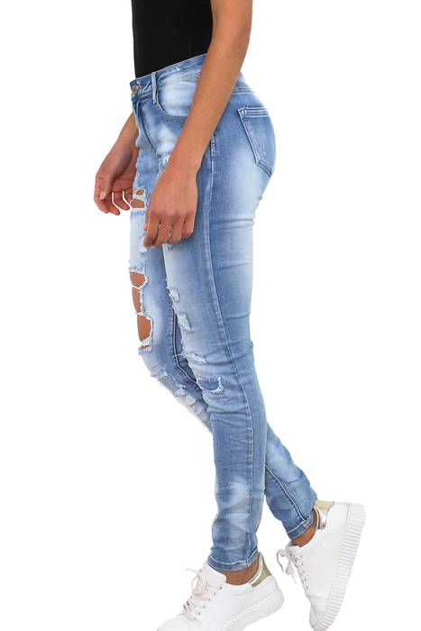 Simply Chic Damen Jeans Stretch Hose Destroyed Skinny Röhrenjeans D2342 – Bild 3