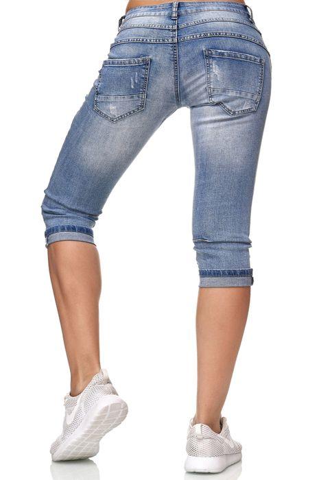 My Christy Damen Capri Jeans 3/4 Boyfriend Chino Hose Stretch Shorts D2344 – Bild 6