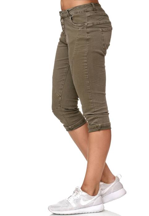My Christy Damen Capri Jeans 3/4 Boyfriend Chino Hose Stretch Shorts D2344 – Bild 9