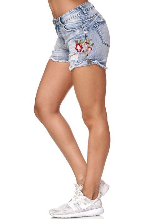 Nina Carter Damen Jeans Shorts Hot Pants Hüfthose Blumen Stickerei Floral D2349 – Bild 4