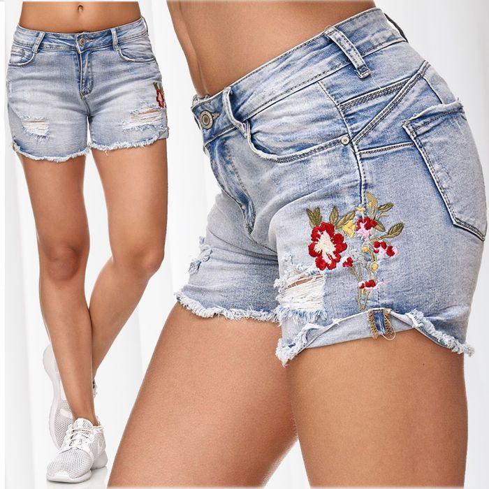 Nina Carter Damen Jeans Shorts Hot Pants Hüfthose Blumen Stickerei Floral D2349 – Bild 1