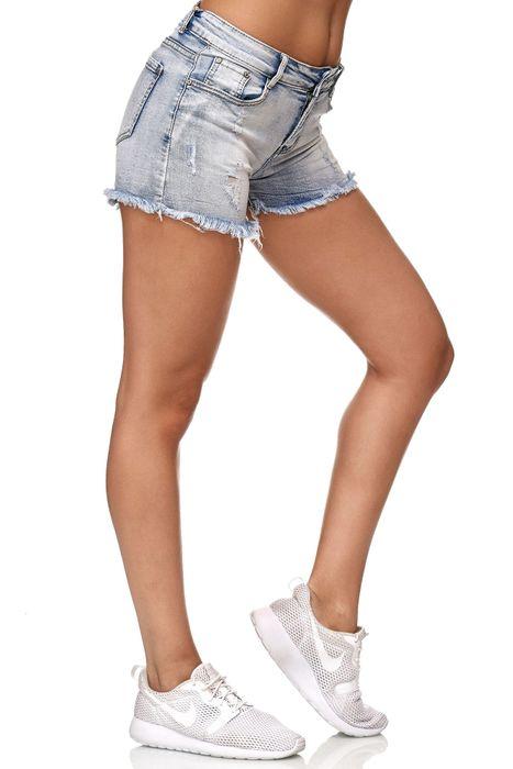 Nina Carter Damen Jeans Shorts Hot Pants Hüfthose Ripped Destroyed D2350 – Bild 5