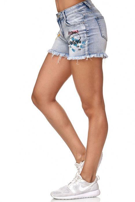Nina Carter Damen Jeans Shorts Fransen Statement Graffiti Hot Pants Hüfthose D2353 – Bild 4