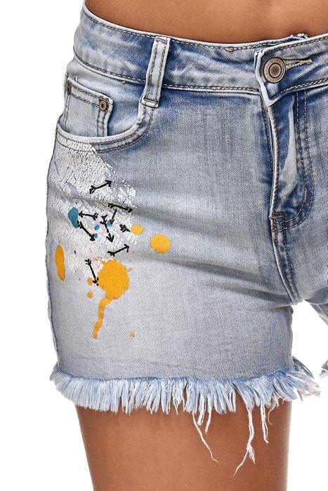 Nina Carter Damen Jeans Shorts Fransen Statement Graffiti Hot Pants Hüfthose D2353 – Bild 7