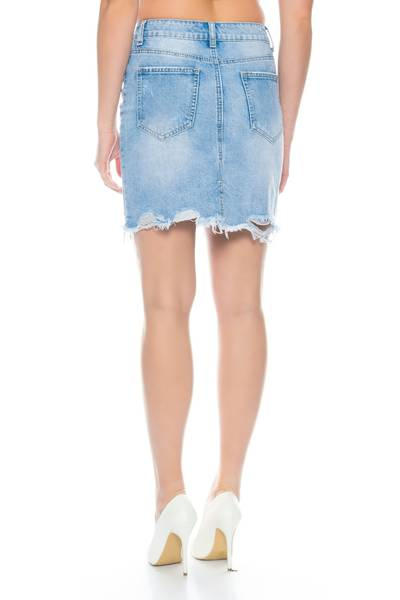 Nina Carter Damen Fransen Jeans Rock Destroyed Midi Skirt D2354 – Bild 9