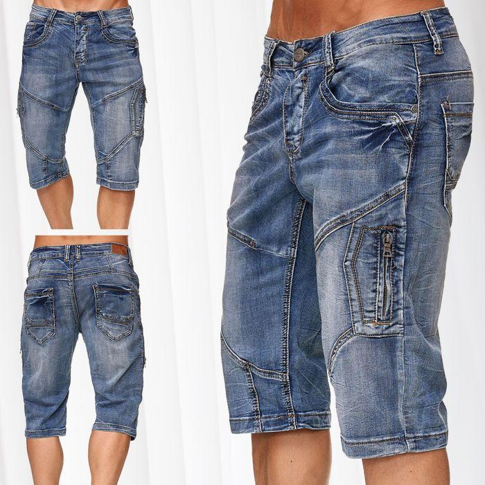 Leo Gutti Herren Jeans Shorts Kurze Capri Hose Bermuda Pants H2365 – Bild 1