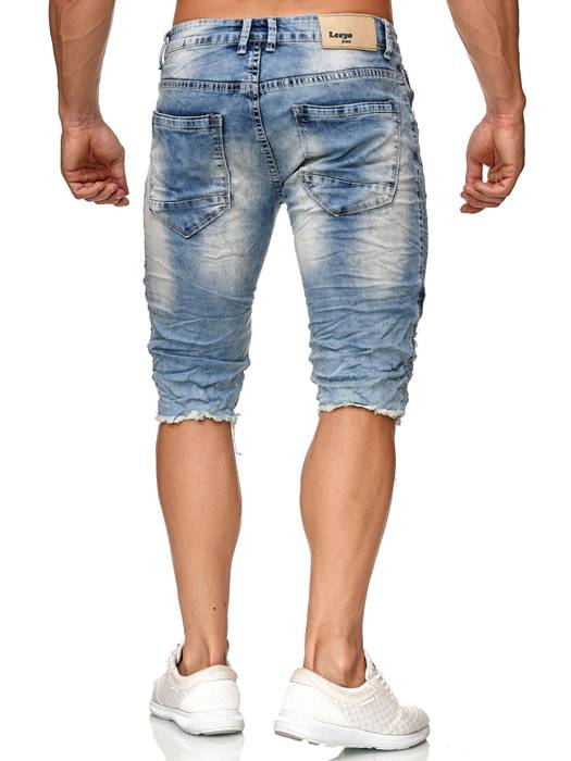 Leeyo Herren Bermuda Shorts Kurze Biker Jeans Hose Used H2373 – Bild 4