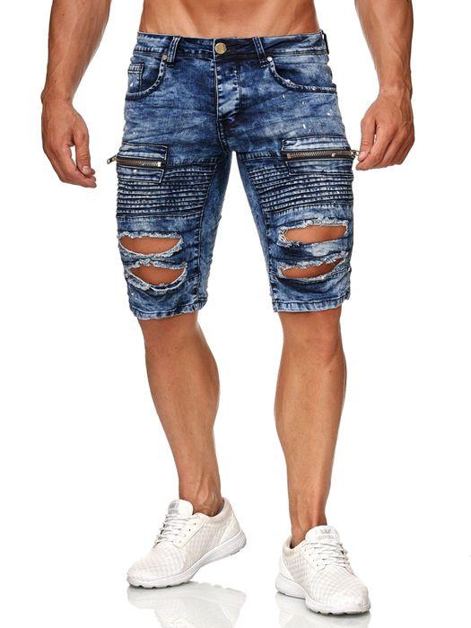 Leeyo Herren Bermuda Shorts Kurze Biker Jeans Hose Used H2373 – Bild 10