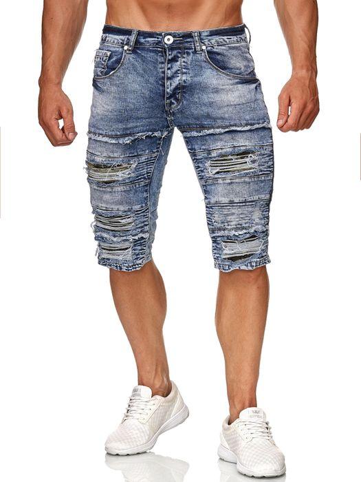 Leeyo Herren Bermuda Shorts Kurze Biker Jeans Hose Used H2373 – Bild 14