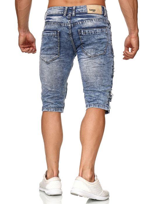 Leeyo Herren Bermuda Shorts Kurze Biker Jeans Hose Used H2373 – Bild 16