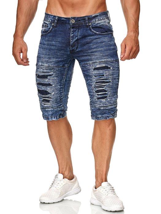 Leeyo Herren Bermuda Shorts Kurze Biker Jeans Hose Used H2373 – Bild 6
