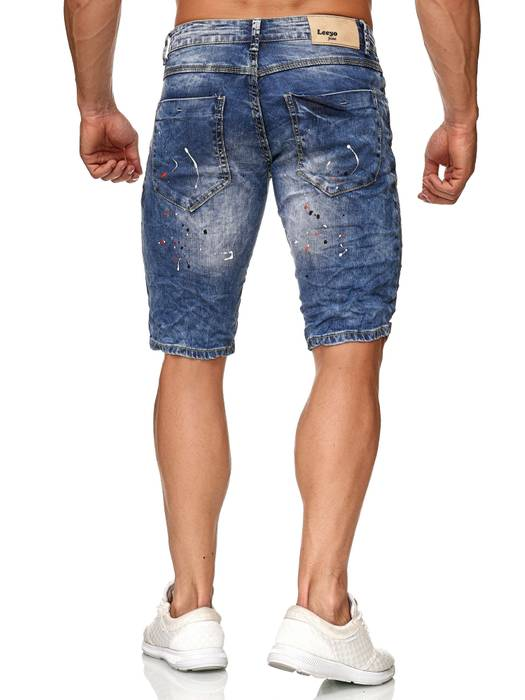 Leeyo Herren Jeans Shorts Farbe Klecks Splashes Slim Fit Bermuda Hose H2376 – Bild 4