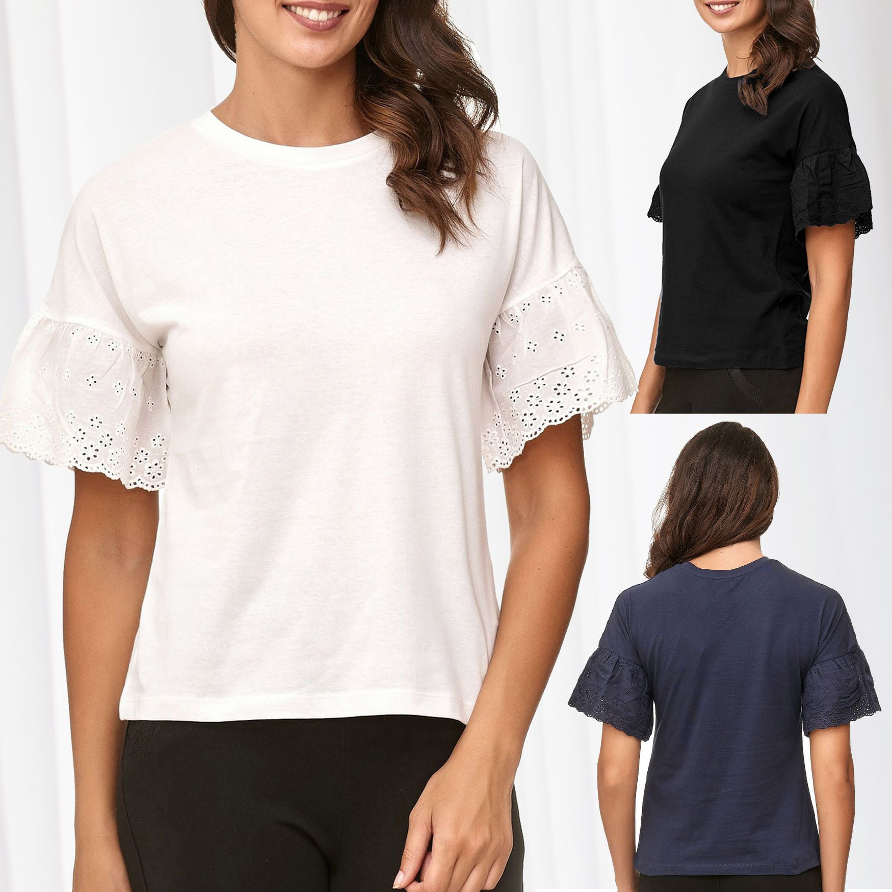 JDY Damen T-Shirt Kurzarm Jacqueline de Yong Trompetenärmel Bluse Volants Ärmel