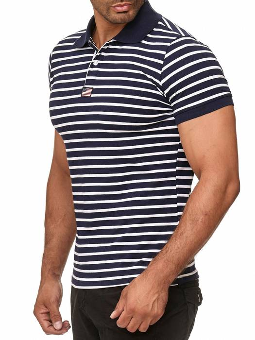 New Mentality Herren Polo Shirt T-Shirt Kurzarm Polo Hemd Gestreift H2387 – Bild 4