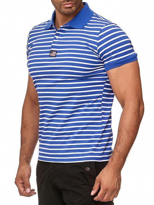 New Mentality Herren Polo Shirt T-Shirt Kurzarm Polo Hemd Gestreift H2387 – Bild 8