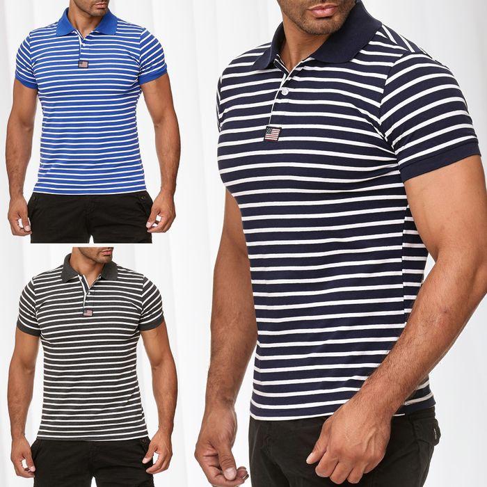 New Mentality Herren Polo Shirt T-Shirt Kurzarm Polo Hemd Gestreift H2387 – Bild 1
